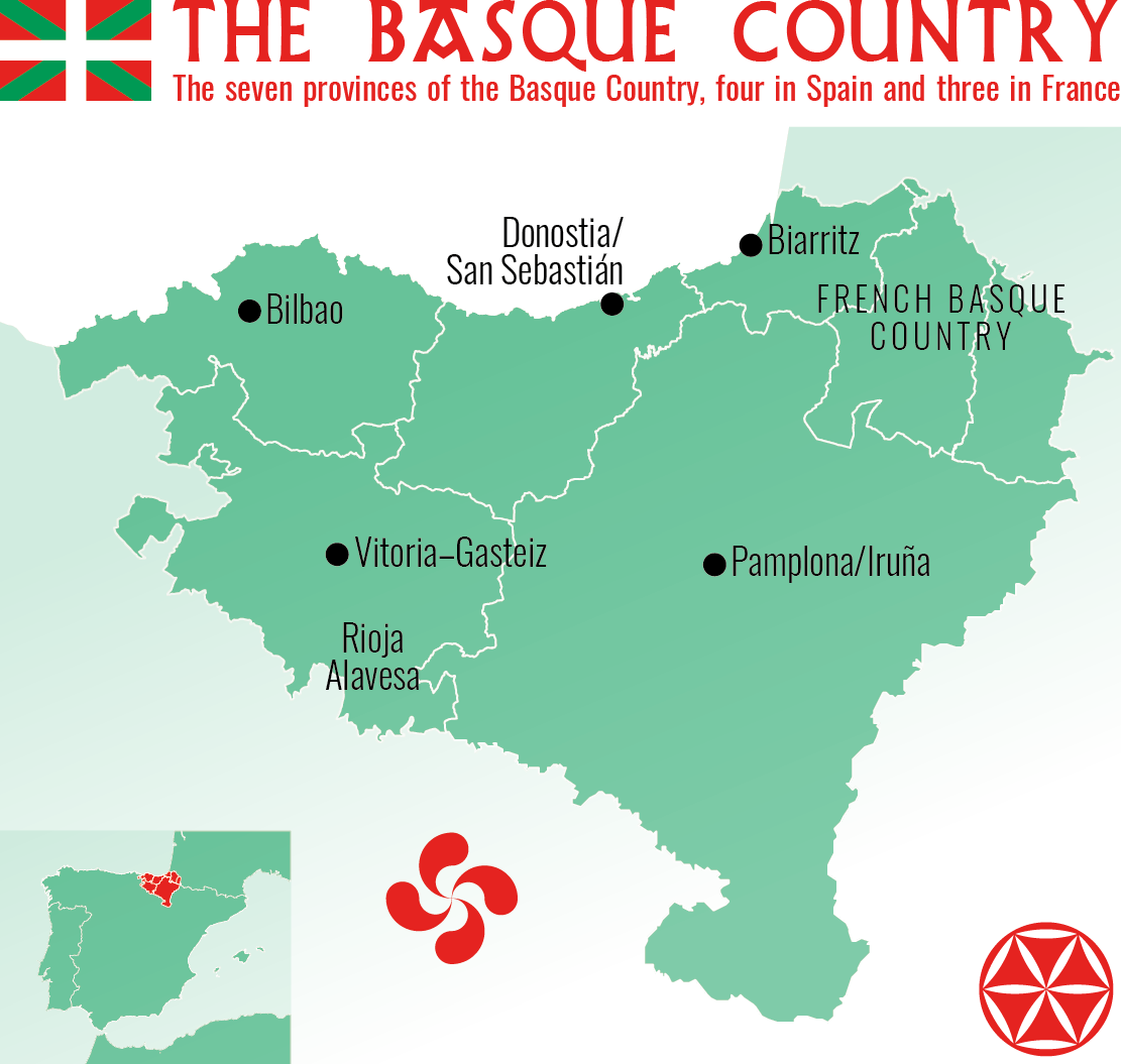 The seven provinces of the Basque Country, four in Spain and three in France.