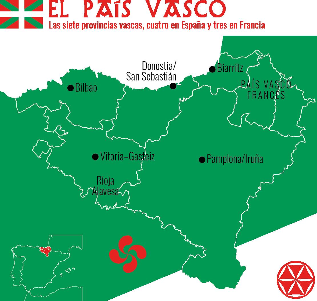 Las siete provincias del País Vasco, cuatro en España y tres en Francia.